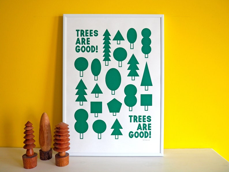 Trees Are Good Screenprint Minimal Tree Print Nature Forest image 0