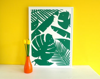 Tropical Plant Screen Print, Monstera Cheese Plant Print, Nibbles Screenprint, Jungle Screenprint, Leaves Art, Plant Screen Print, Green Art