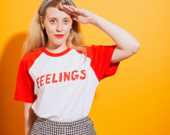 Feelings Unisex Red and White Baseball T-shirt
