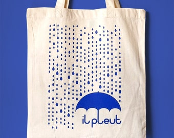 Rain Tote Bag, Screenprint Tote, French Quote Tote, Raindrops Tote, Umbrella Tote, Typography Tote Bag, Cute Tote Bag, France Tote, Rain Bag