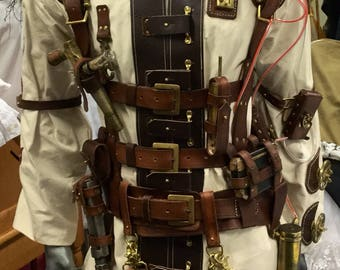 b6d731b7390 Steampunk cavorite engineer outfit. Leather harness with a canvas and  leather boiler suit included. Steampunk costume
