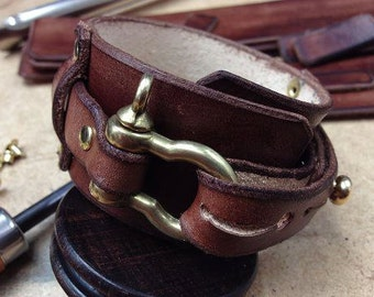 Steampunk leather cuff. Made to order handmade leaher cuff