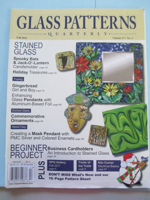 Glass Pattern Quarterly Magazine Stained Glass Patterns Fall Etsy Best Glass Patterns Quarterly