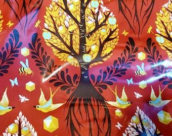 Tula Pink Tree of Life laminate fabric. Cinnamon color. HY
