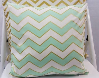 Cushion Cover In Mint & Gold Chevron Stripe fabric