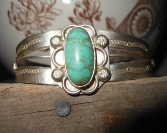 Vintage Handmade Turquoise and Sterling Cuff Bracelet