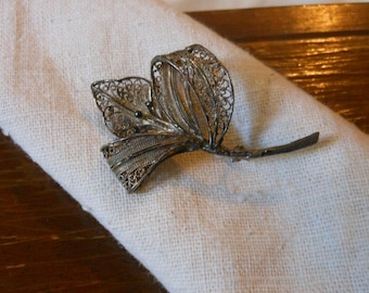 Antique Filigree Sterling and Vermeil Lily