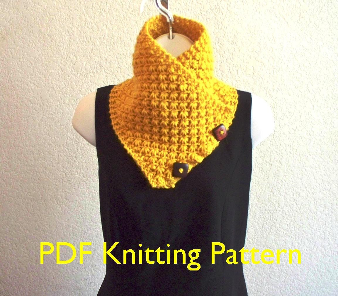 Lotus Flower Button Scarf Pdf Knitting Pattern Lily Worsted Etsy