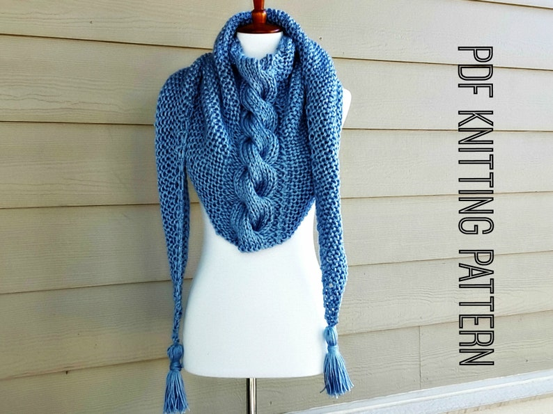 Twisted Cable Shawl Scarf Knitting Pattern Tassel Scarf Etsy