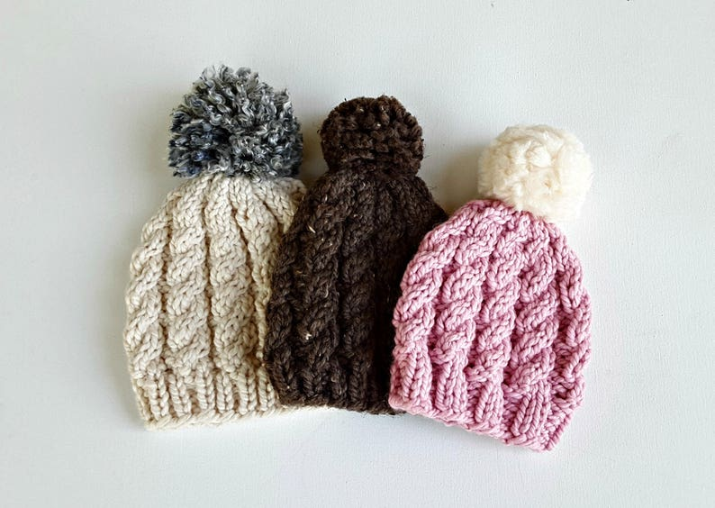 Easy Weekend Cable Knit Hat pattern beanie children teens  cfc001928e4