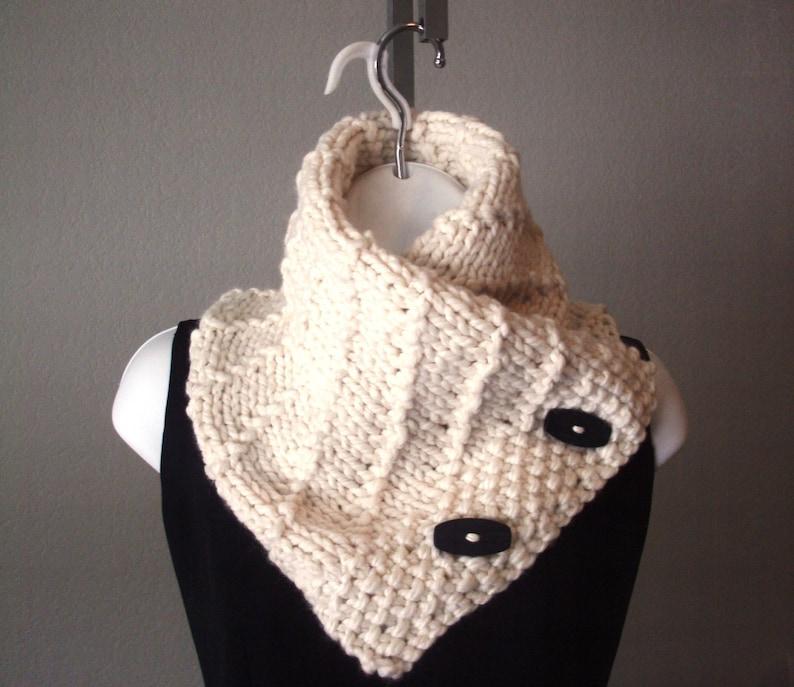 Chunky Diagonal Button Scarf PDF Knitting Pattern women ...