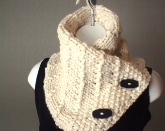 Cream Chunky Embossed Leaf Button Scarf Pdf Knitting Pattern