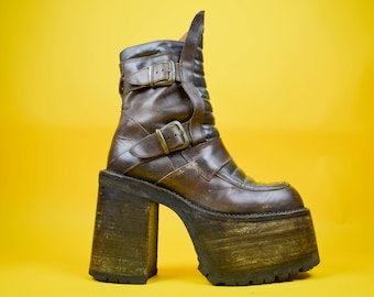 7350492df3 90s Buffalo Brown Leather Mega Platform Boots UK 6.5   US 9   EU 39.5