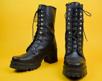 046be338d1f7 90s Grunge Punk Black Faux Leather Lace Up Chunky Combat Boots UK 4   US  6.5   EU 37