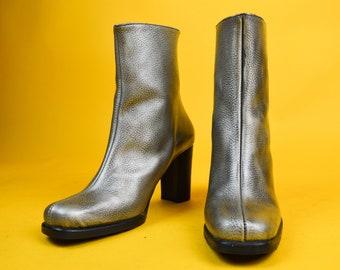 89c0e8360e463 90s El Dantes Silver Leather Square Toe Ankle Boots UK 4   US 6.5   EU 37