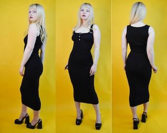 vintage 90s club kid sporty black square high neck spaghetti strap above the knee dress  womens medium large