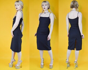 a5c21d9710c3d 90s Y2k Corporate Goth Pinstripe Two Piece Bustier Pencil Skirt Set XS