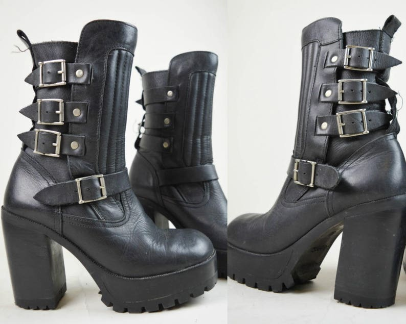 bae982e2fca4 90s Goth Biker Buckled Black Leather Platform Calf High Boots