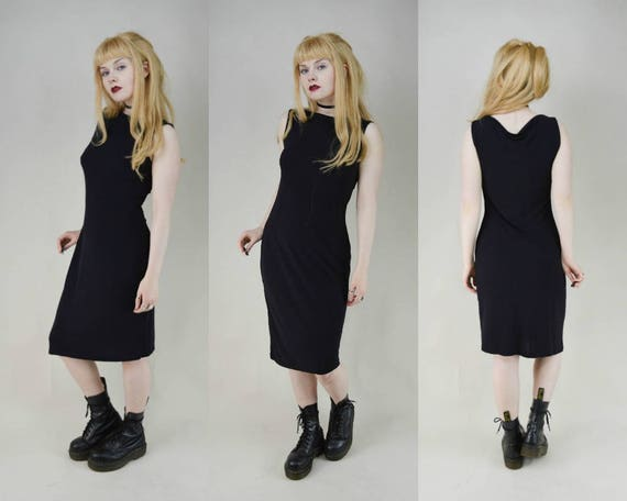 8cb42807bf 90s Grunge Minimal Black Slinky Drapey Midi Dress S
