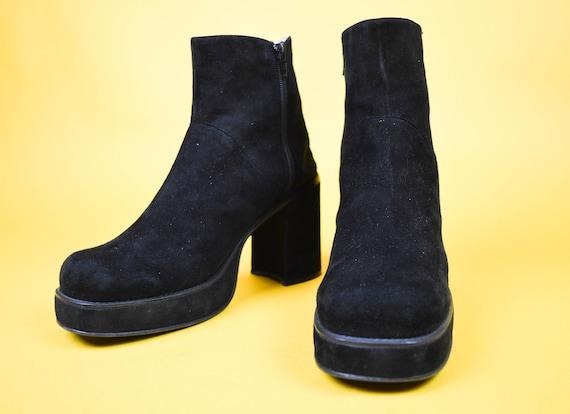 90s Y2k Buffalo Black Suede Chunky Platform Ankle