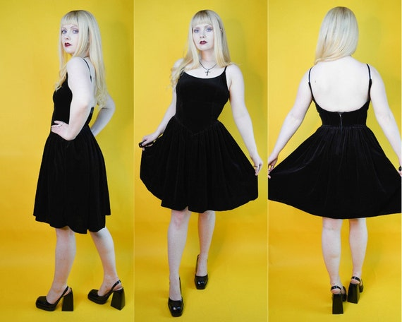 80s Gothic Black Velvet Tutu Petticoat Babydoll Mi