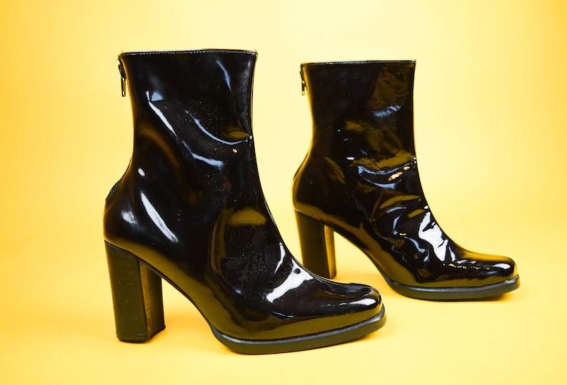 f1a1518c5d582 90s El Dantes Black Patent Leather Square Toe Ankle Boots UK 4