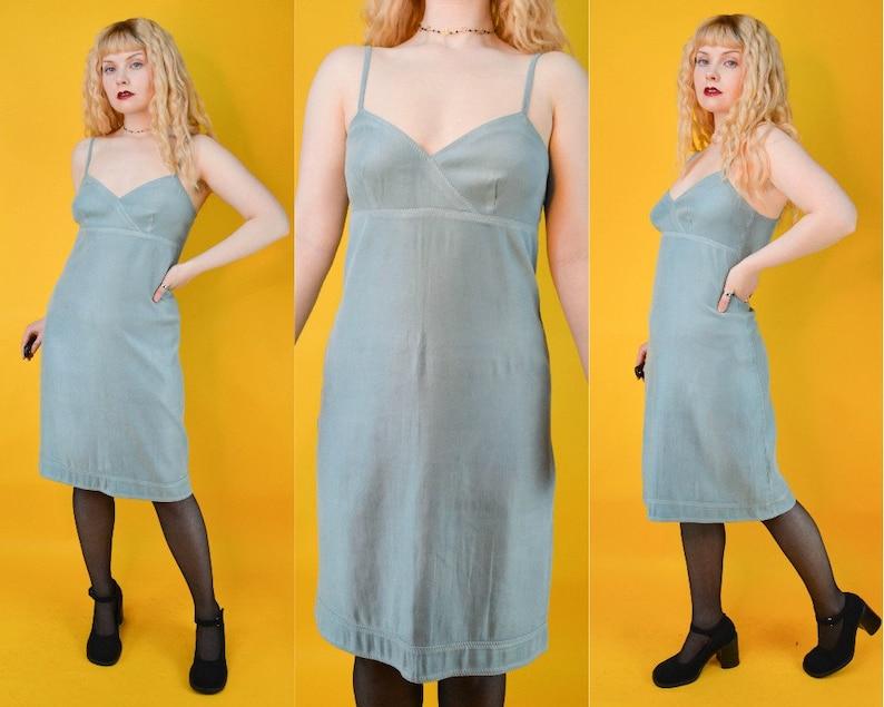 90s Y2k Teal Blue Suedette Mini Dress S
