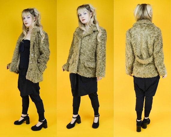 90s Beige Shaggy Faux Fur Coat M