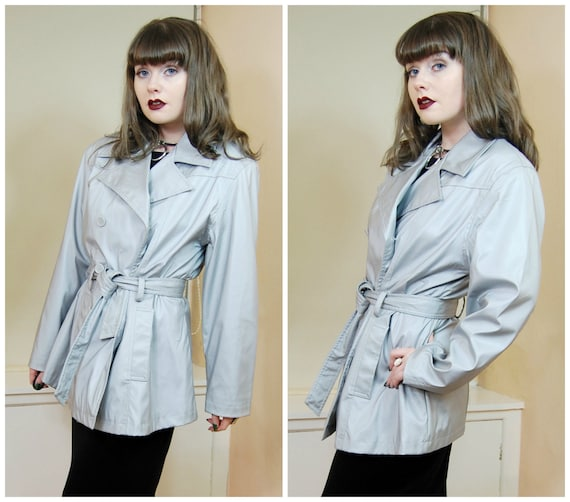 Sale 90s Clubkid Cyber Goth Grey Silver Shiny Sheen Belted Mac Jacket Millenium Button Up Pea Coat Jacket M / L by Etsy