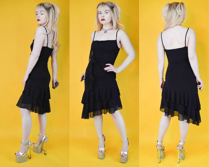 0acb805767 90s Y2k Black Ruched Layered Mesh Asymmetric Mini Dress S / M | Etsy