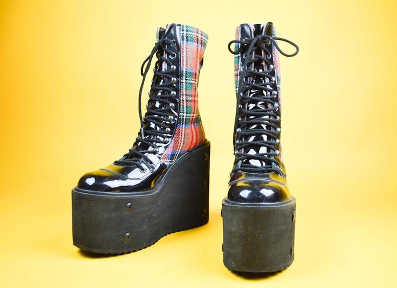 3c9b6101a70e 90s Punk Tartan Patent Platform Lace Up Wedge Boots UK 7   US