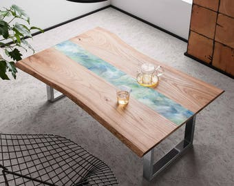 Resin Art Coffee Table - Natural Live edge wood slab coffee table