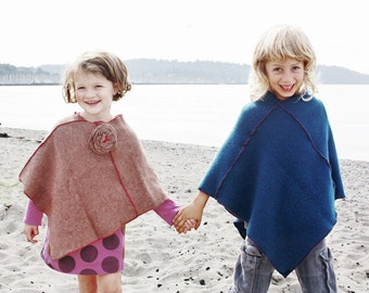 CHILDRENS CLOTHING, Kids Wool Poncho made from Recycled Materials Size 6 to 12yr clothing for child, KIds Poncho, Child Clothing, Children