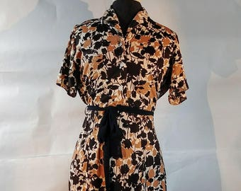 Vintage polyester brown floral shirtwaist dress Womens Large