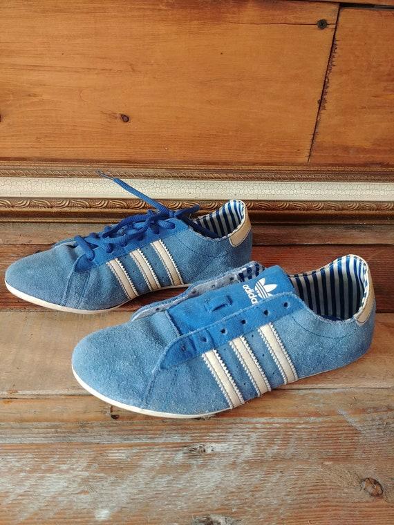 Rare Retro Blue Suede Adidas Thin Sole Minimalist Trainers. Women's US 6.5