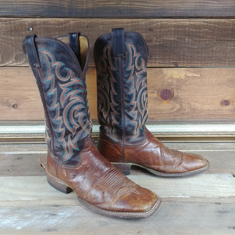 f00810edad4 Ostrich and Leather Brown w/ multicolored embroidery Square Toed Pull On  Justin Cowboy Boots . Men's US 9D