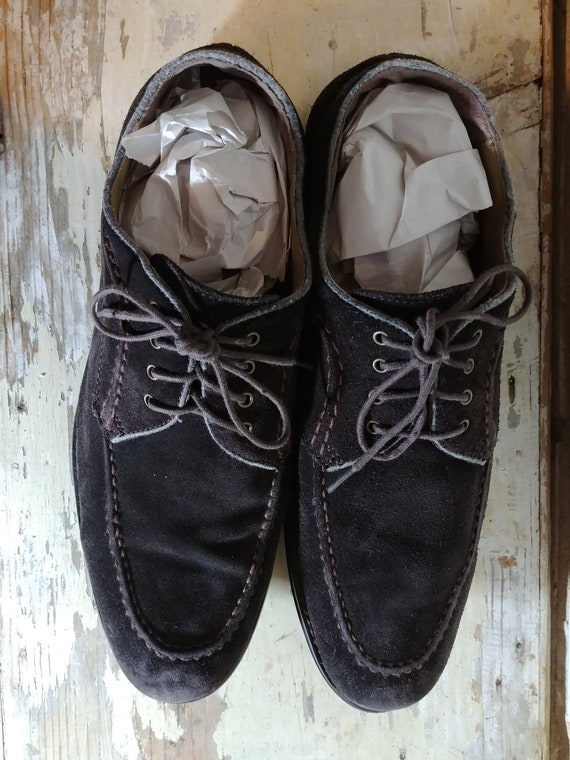 20beb02176a0f Chocolate Brown Suede Hush Puppies Retro Style 4 Hole Tie Oxfords. Men's US  10