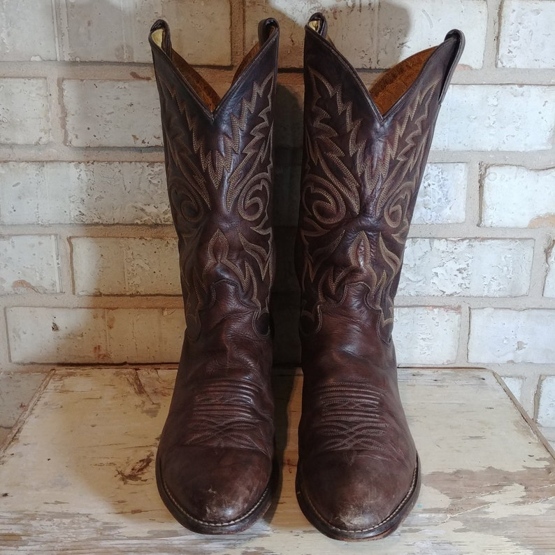 a3dfb7aa5da Brown Leather Vintage Justin Roper Cowboy boots with Decorative Gold  Stitching. Men's US 10.5 EE