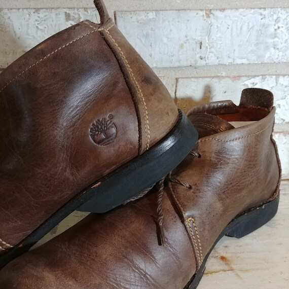 Vintage Timberland Brown Leather Chukka Boots. 2 eyelet Desert Boot Style. Men's US 14