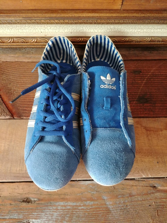 Rare Retro Blue Suede Adidas Thin Sole Minimalist Trainers. Women's US 6.5