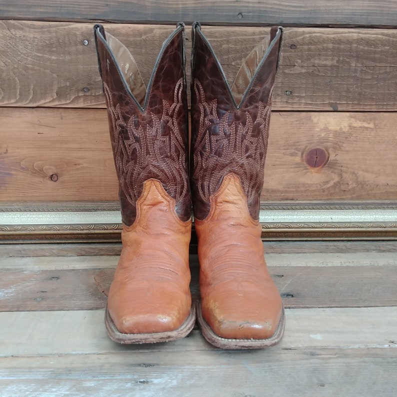 c36e8a05634 Brown Leather and Orange Smooth Ostrich Skin Square Toed Circle G by Corral  Cowboy Work Boots. Men's size 14 US