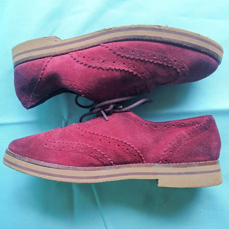18a8b118766f0 Red Wine Suede Wingtip lace up Oxfords - Women's 8.5US