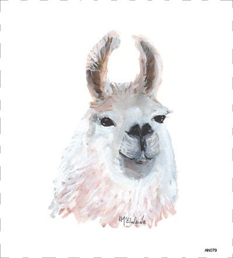 Llama  Art On Fabric by Kathleen McElwaine  AN079  image 0