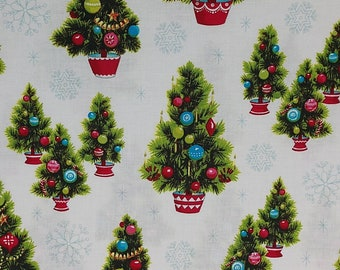 Anna Griffin Fabric - Christmas Kitsch Collection - Christmas Trees White (CF2903-1) - Half Yard
