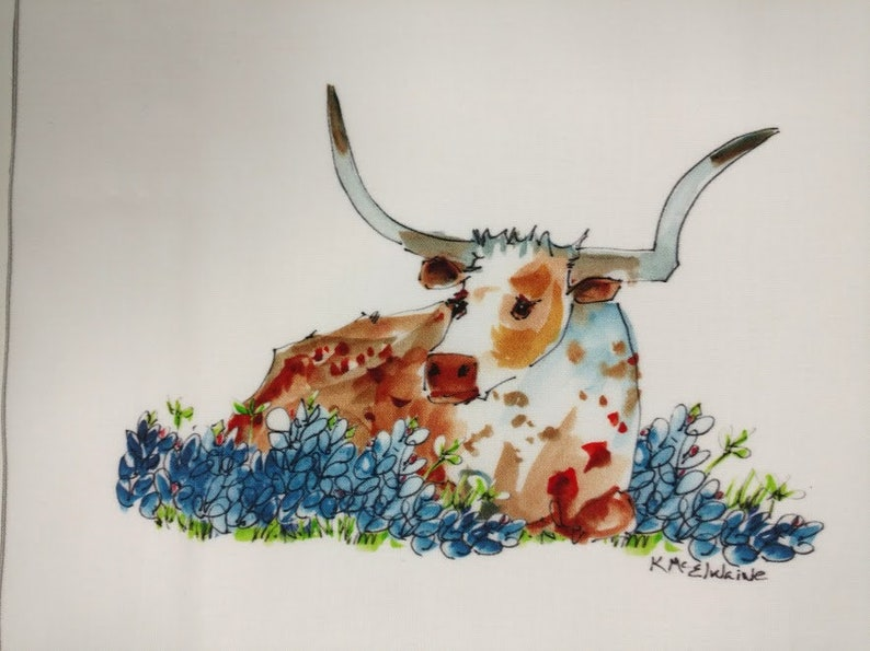 Longhorn In Bluebonnets Bessie  Art On Fabric by Kathleen image 0