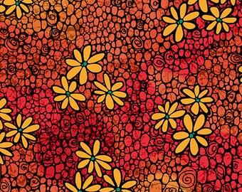 Calypso by Studio 8 for Quilting Treasures - Daisy Geometric - (27005-O Orange) - 1 Yard