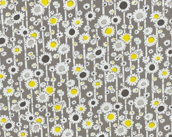 Mojito Collection, Yellow and Grey Daisy Fabric, Windham Fabrics, Another Point of View (41229-6) - Half Yard
