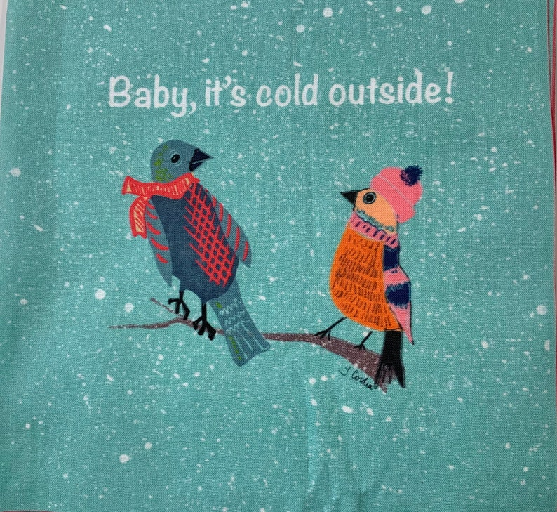 Baby It's Cold Outside  Birds in Sweaters  Fabric Art image 0