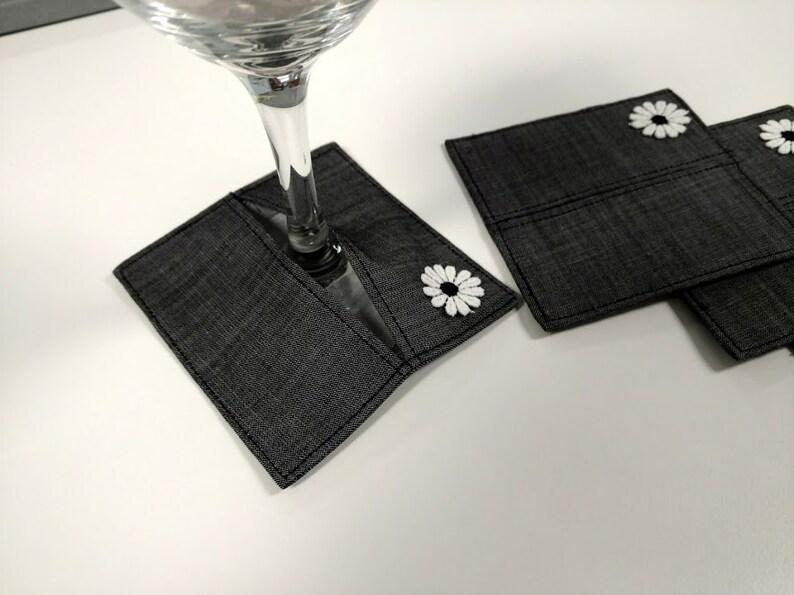 Wine Glass Coasters Wine Stem Slippers  Fabric Coasters  image 0