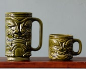 Vintage Mid-Century Tiki Mug Pair
